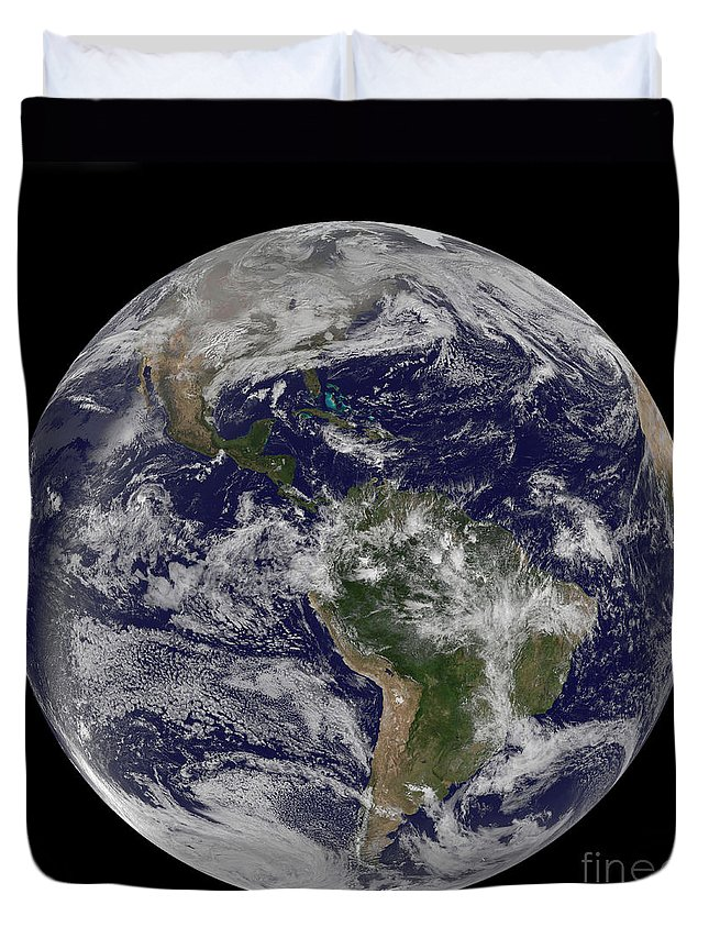 Whole Duvet Cover featuring the photograph Full Earth Showing North America by Stocktrek Images