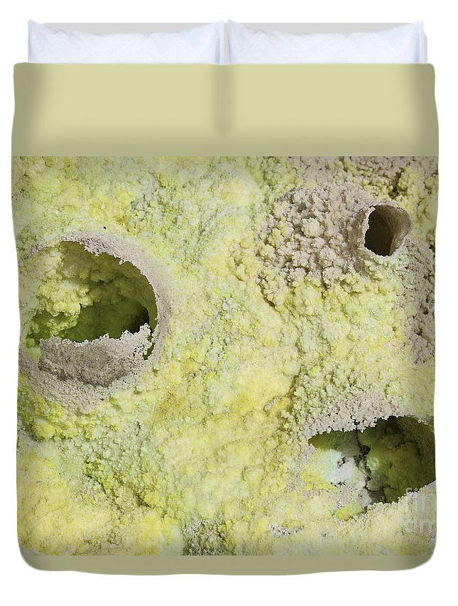 Full Frame Duvet Cover featuring the photograph Fumarole Deposits In The Dallol by Richard Roscoe