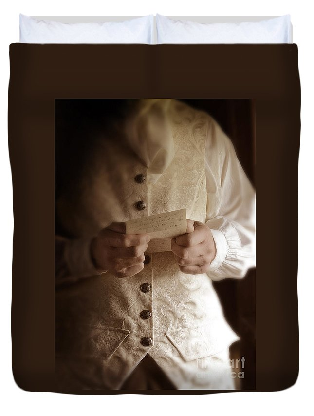 Gentleman Duvet Cover featuring the photograph Gentleman In Vintage Clothing Reading A Letter by Jill Battaglia