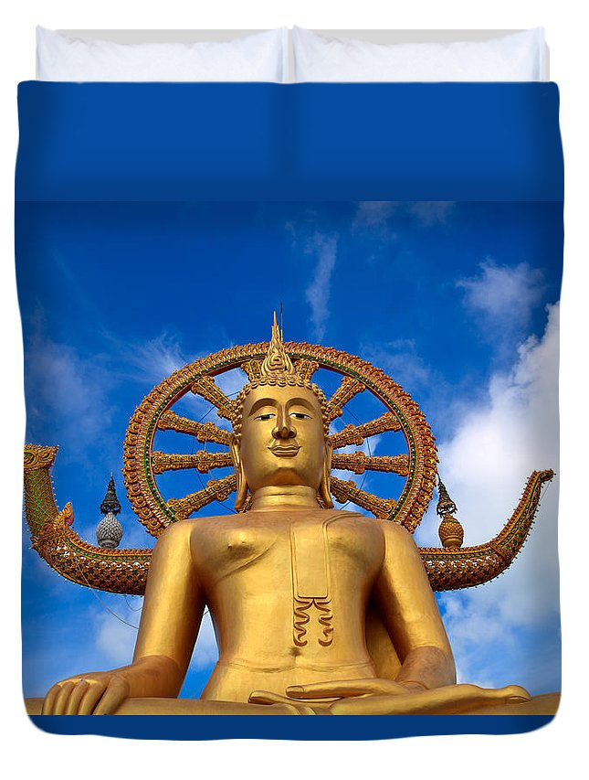 Asia Duvet Cover featuring the photograph Golden Buddha by Adrian Evans