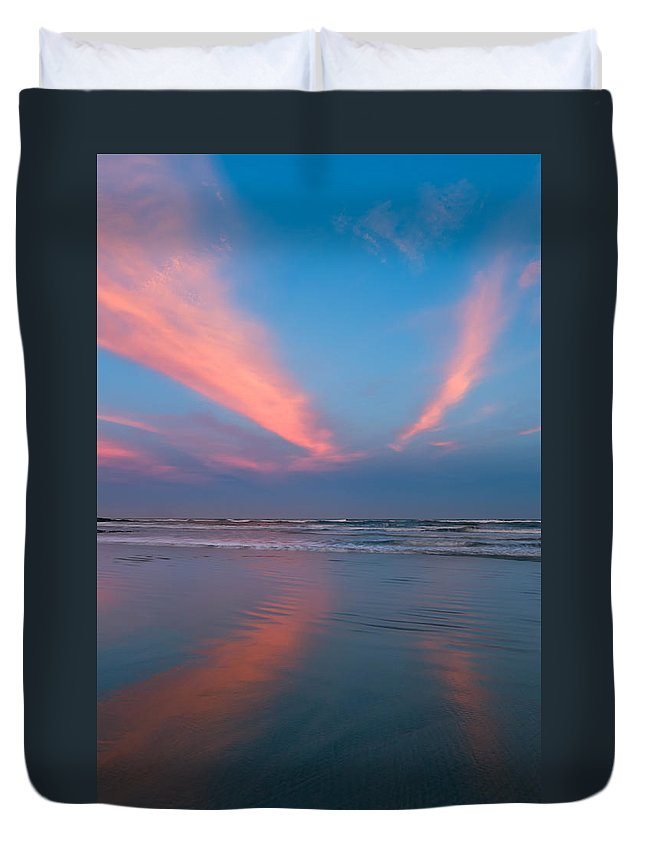 Background Duvet Cover featuring the photograph Golden Morning At A Beach by U Schade