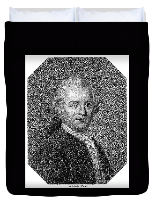 18th Century Duvet Cover featuring the photograph Gotthold Ephraim Lessing by Granger