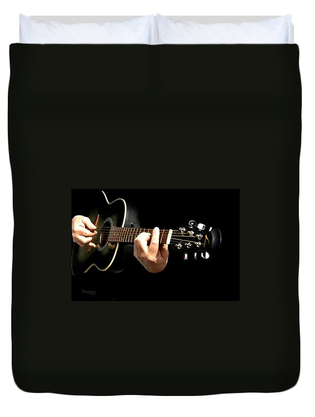 Ny Duvet Cover featuring the photograph Guitar In Hands by Ericamaxine Price