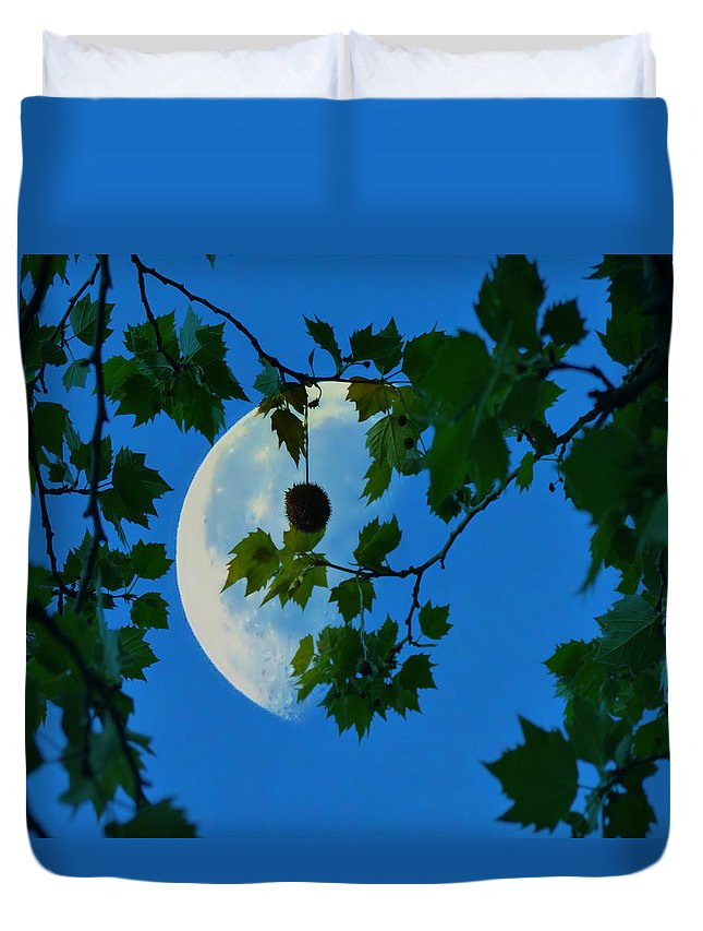 Half Duvet Cover featuring the photograph Half Moon by Bill Cannon