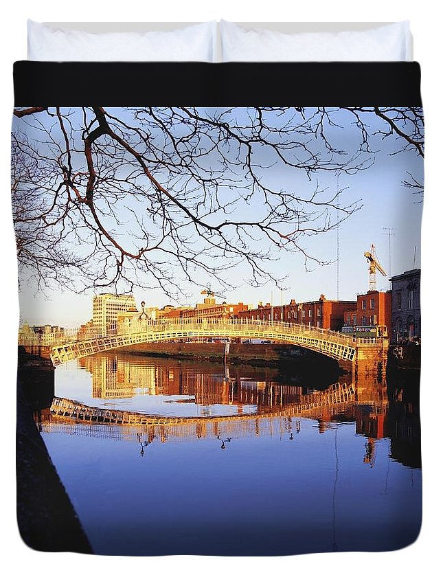 Background People Duvet Cover featuring the photograph Hapenny Bridge, River Liffey, Dublin by The Irish Image Collection