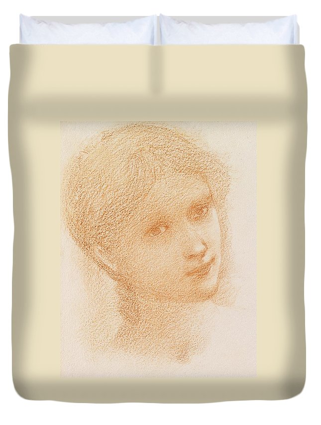 Head Study Of A Girl Duvet Cover featuring the drawing Head Study Of A Girl by Sir Edward Burne-Jones