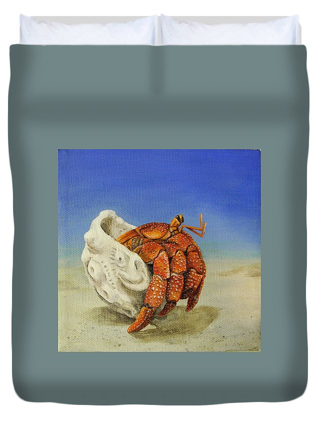 Crab Duvet Cover featuring the painting Hermit Crab by Cindy D Chinn