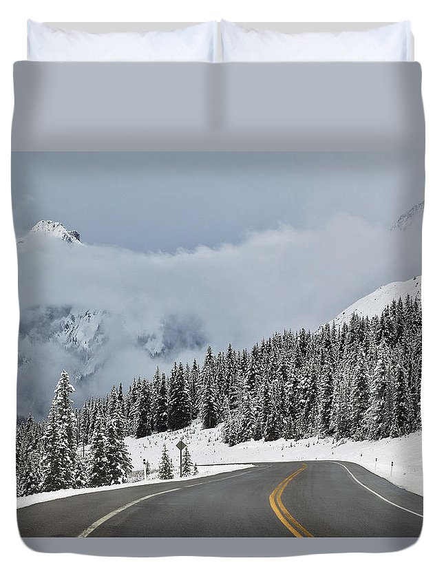 Light Duvet Cover featuring the photograph Highway 40 In Winter, Highwood Pass by Darwin Wiggett