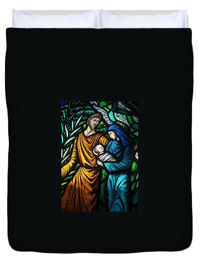 Holy Duvet Cover featuring the photograph Holy Family Stained Glass by Munir Alawi