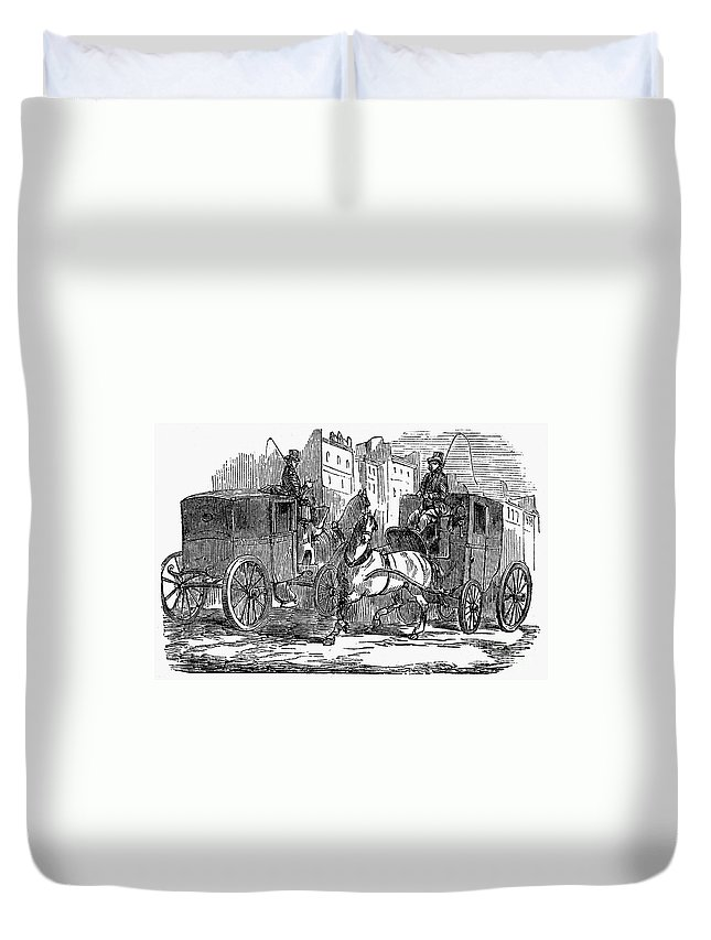 1853 Duvet Cover featuring the photograph Horse Carriage, 1853 by Granger