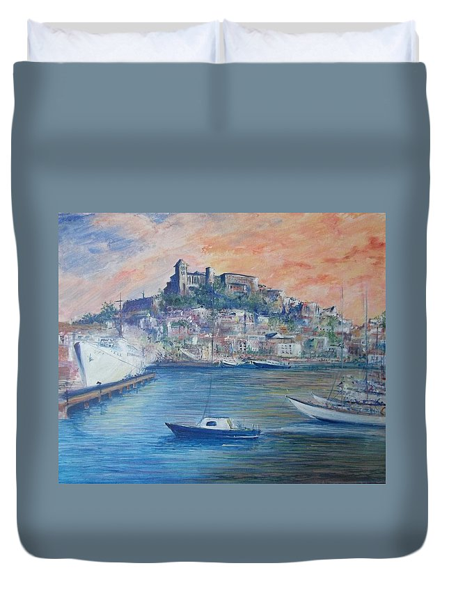 Seascape Duvet Cover featuring the painting Ibiza Old Town Marina and Port by Lizzy Forrester
