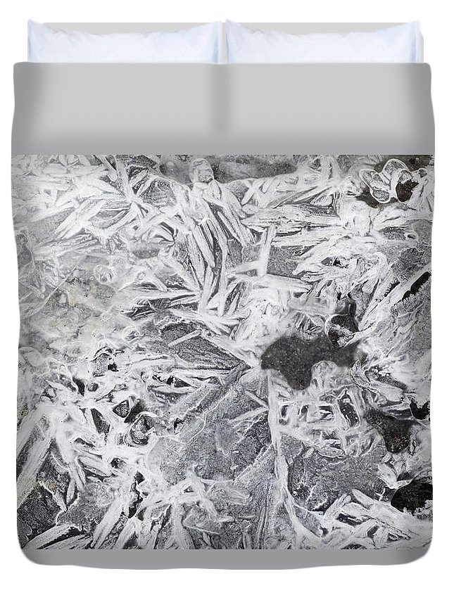 Light Duvet Cover featuring the photograph Ice Patterns On Pond, Alberta Canada by Darwin Wiggett
