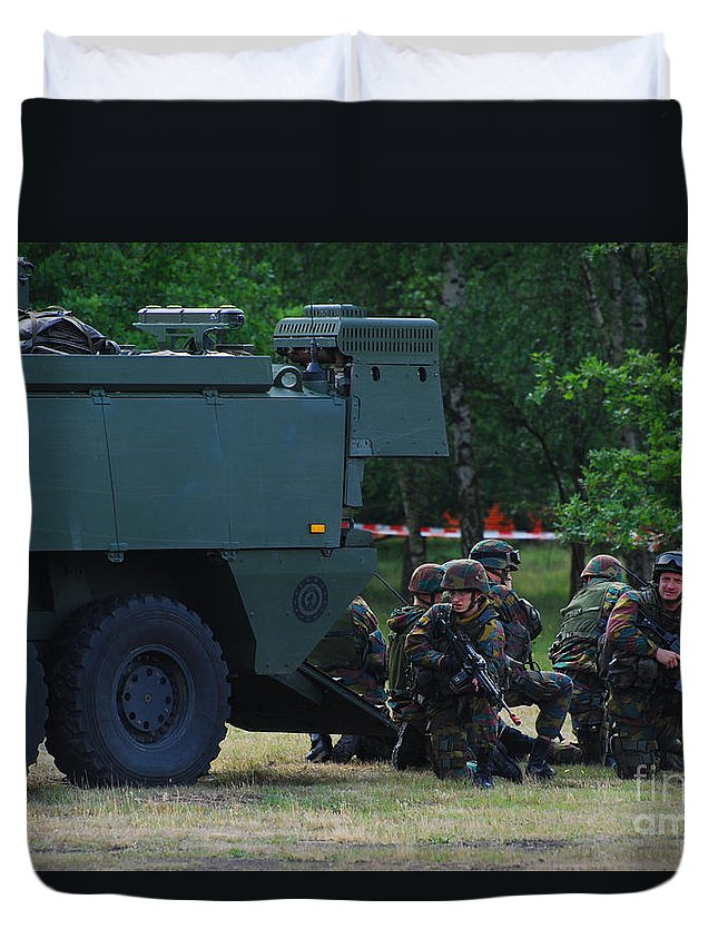 Soldier Duvet Cover featuring the photograph Infantry Soldiers Of The Belgian Army by Luc De Jaeger