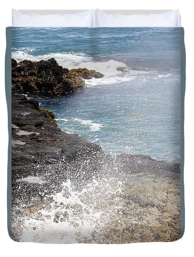 Kilauea Point Lighthouse Duvet Cover featuring the photograph Kauai Spray by Linda Dunn