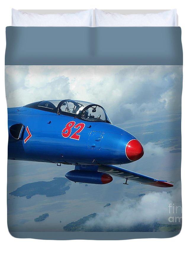 Transportation Duvet Cover featuring the photograph L-29 Delfin Standard Jet Trainer by Daniel Karlsson