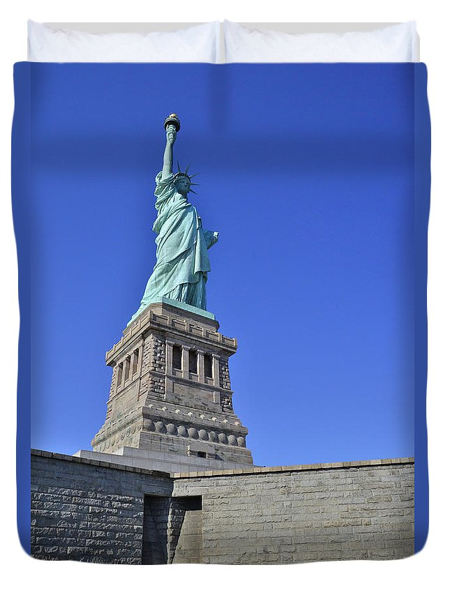 Statue Of Liberty Duvet Cover featuring the photograph Lady Liberty 12 by Allen Beatty