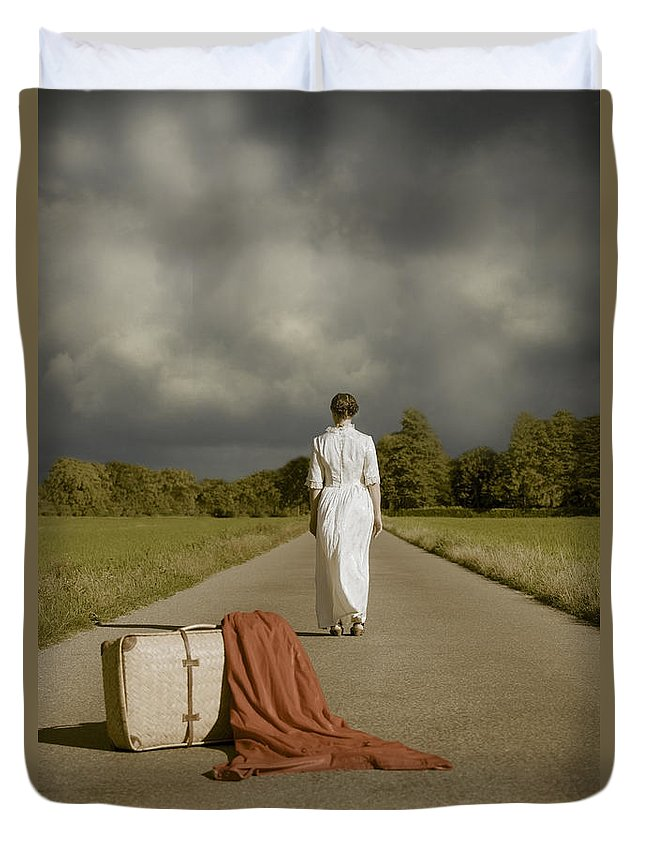 Female Duvet Cover featuring the photograph Lady On The Road by Joana Kruse
