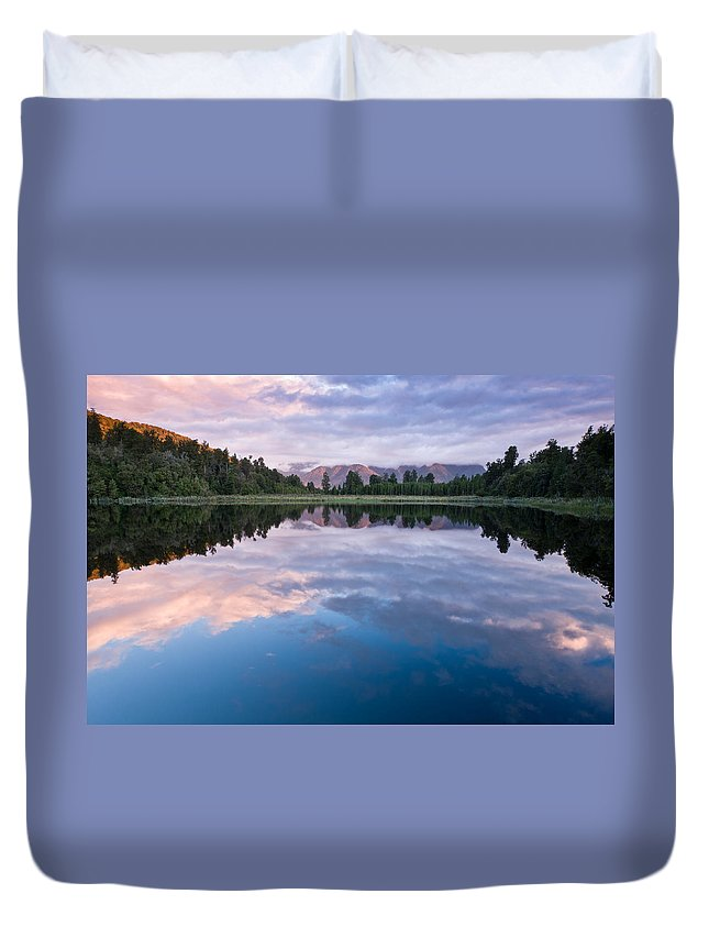 Background Duvet Cover featuring the photograph Lake Matheson by U Schade