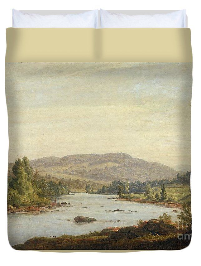 Landscape With River (scene In Northern New York) Duvet Cover featuring the painting Landscape With River by Sanford Robinson Gifford