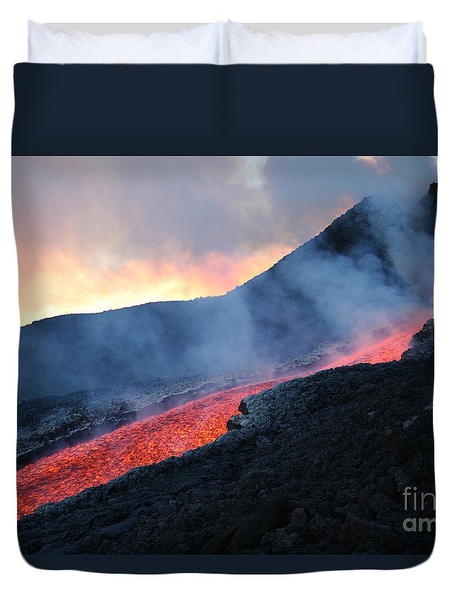 Ravine Duvet Cover featuring the photograph Lava Flowing From Base Of Hornito by Richard Roscoe