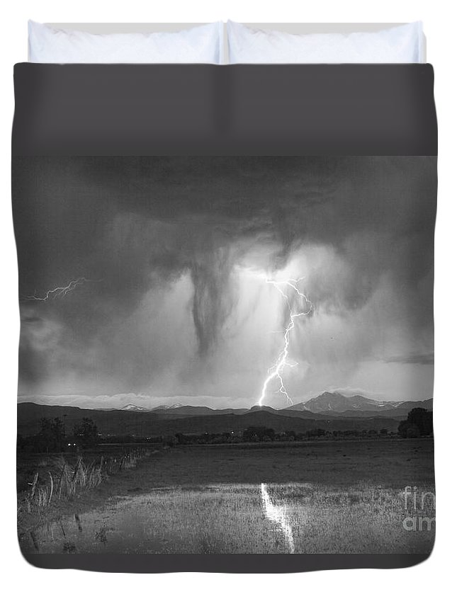 'boulder County' Duvet Cover featuring the photograph Lightning Striking Longs Peak Foothills 3 by James BO Insogna