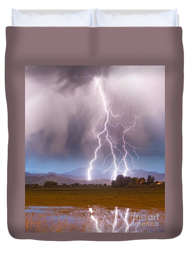 Awesome Duvet Cover featuring the photograph Lightning Striking Longs Peak Foothills 6 by James BO Insogna