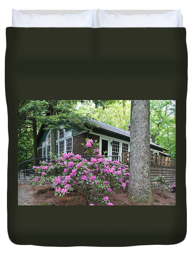Signal Mountain Duvet Cover featuring the photograph Little Brown Church In Spring by Tom and Pat Cory