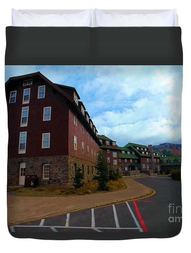 Crater Lake National Park Duvet Cover featuring the photograph Lodge On The Crater by Adam Jewell