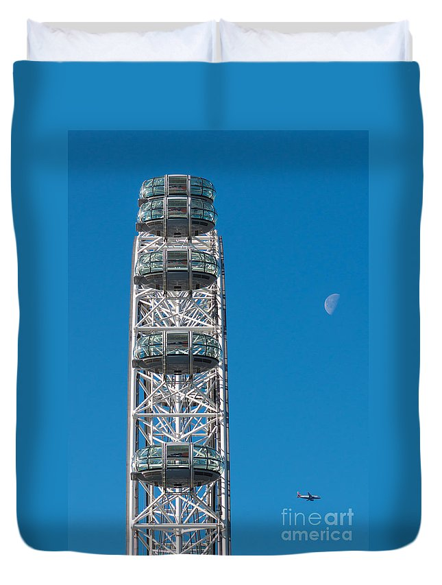 British Duvet Cover featuring the photograph London Eye by Andrew Michael