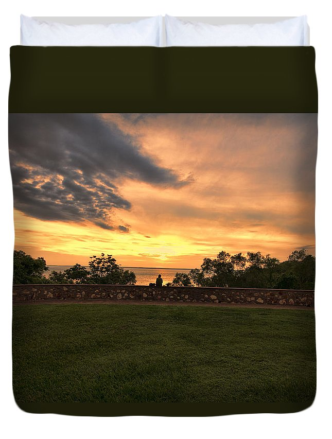 Sunset Duvet Cover featuring the photograph Lonely by Douglas Barnard