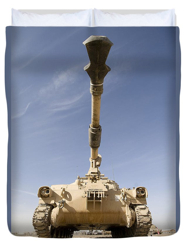155mm Duvet Cover featuring the photograph M109 Paladin, A Self-propelled 155mm by Terry Moore