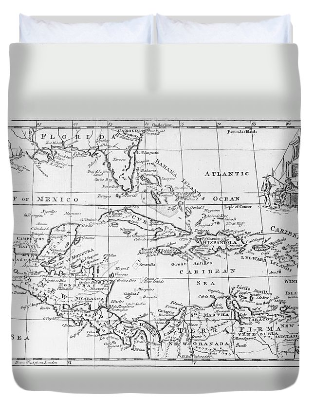 Maps Duvet Cover featuring the drawing Map Of The West Indies Florida And South America by English School