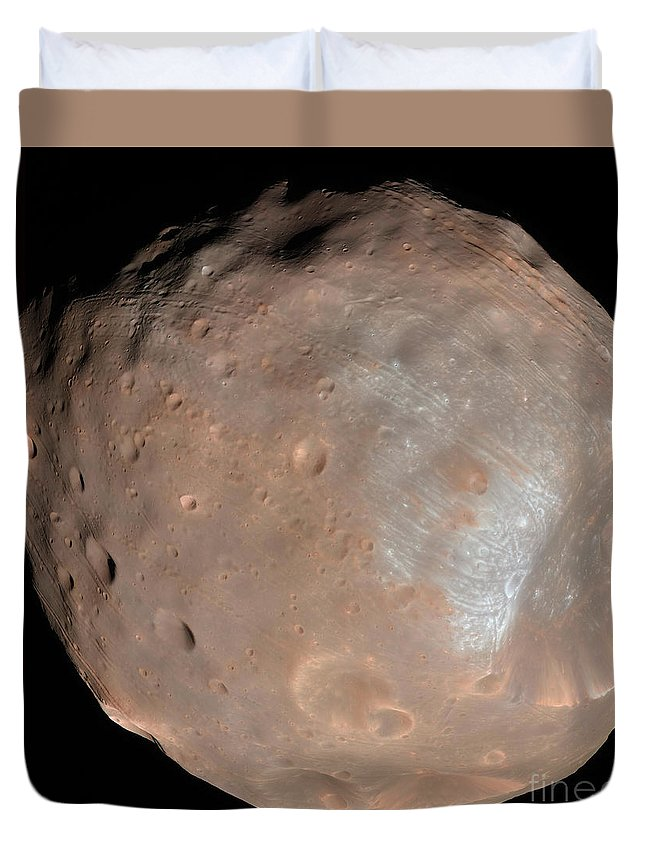 View From Space Duvet Cover featuring the photograph Mars Moon Phobos by Stocktrek Images