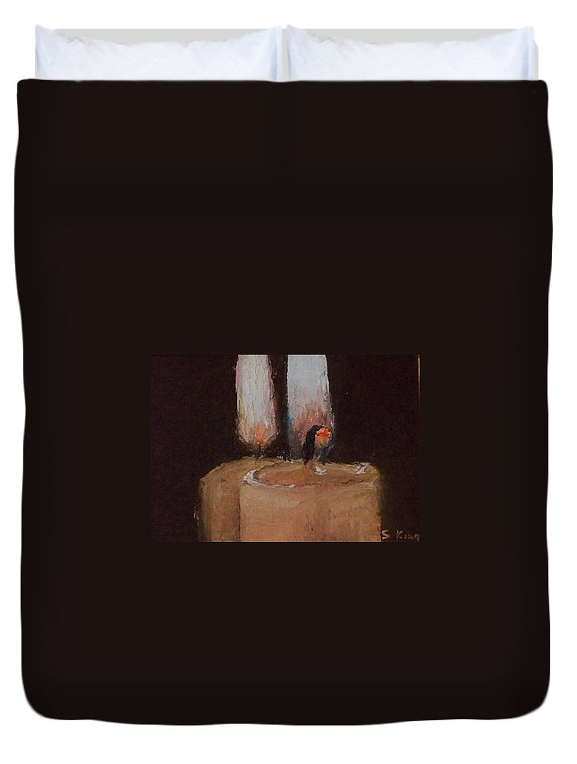 Candles Duvet Cover featuring the painting Mirror Image by Stephen King