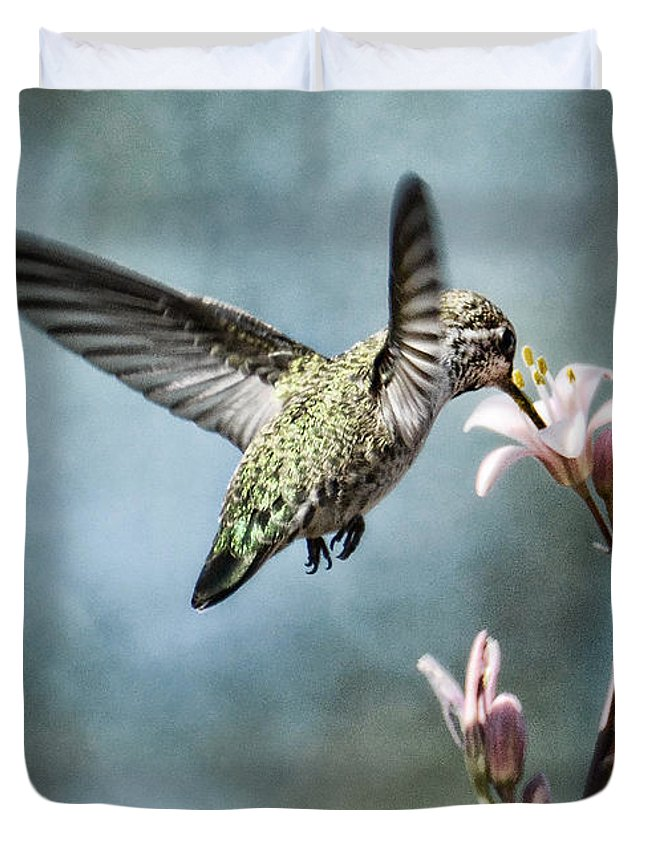 Annas Hummingbird Duvet Cover featuring the photograph Morning Surprises by Saija Lehtonen