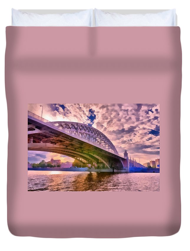 Art Duvet Cover featuring the photograph Moscow's Bridges by Michael Goyberg