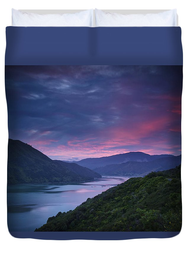 Blue Sky Duvet Cover featuring the photograph Mountains Along The Coastline Under A by David DuChemin