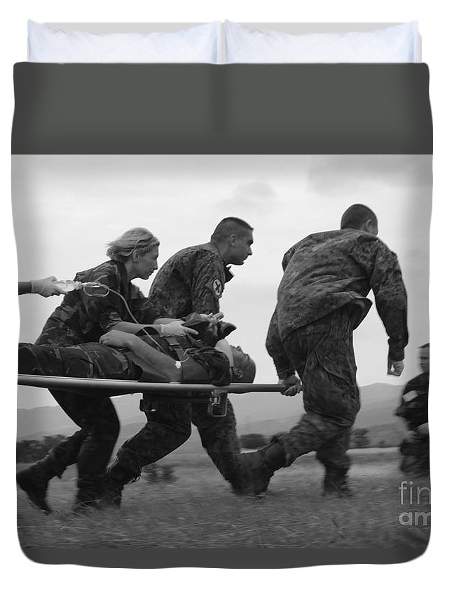 Medceur 2011 Duvet Cover featuring the photograph Multinational Medical Personnel Race by Stocktrek Images