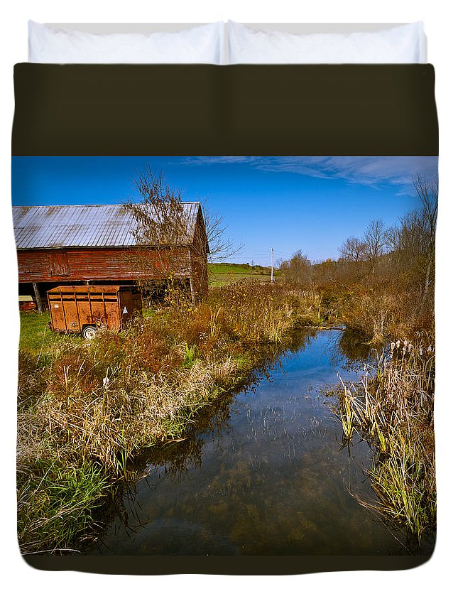 Landscape Duvet Cover featuring the photograph New England Farm In Autumn Scenery by Jiayin Ma