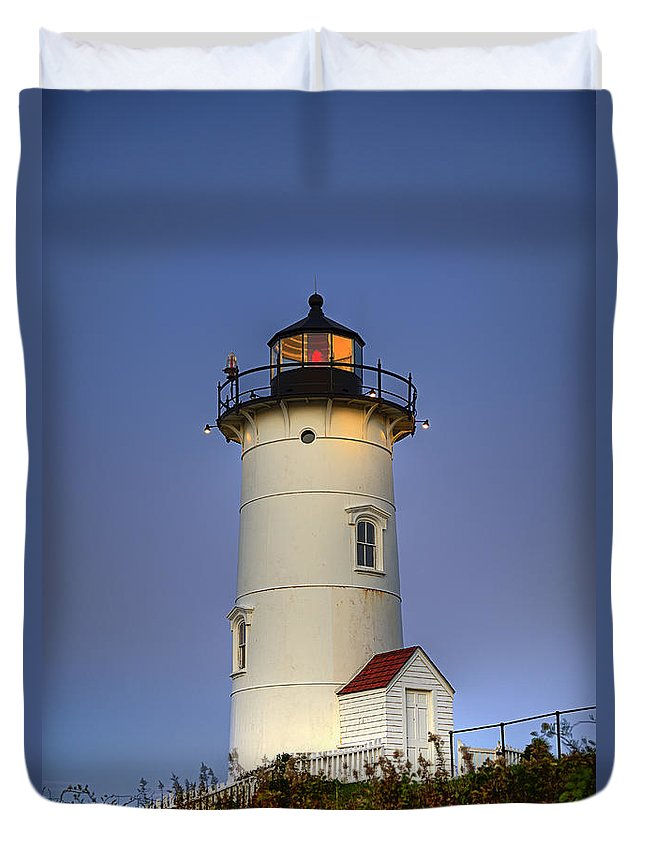 Cape Cod Duvet Cover featuring the photograph Nobska Point Lighthouse by John Greim