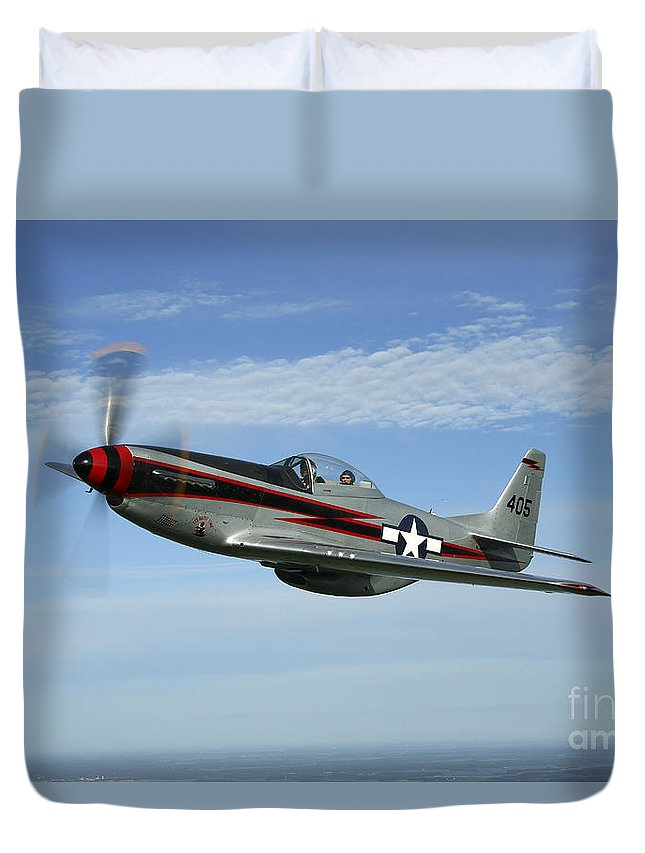 Transportation Duvet Cover featuring the photograph North American P-51 Cavalier Mustang by Daniel Karlsson