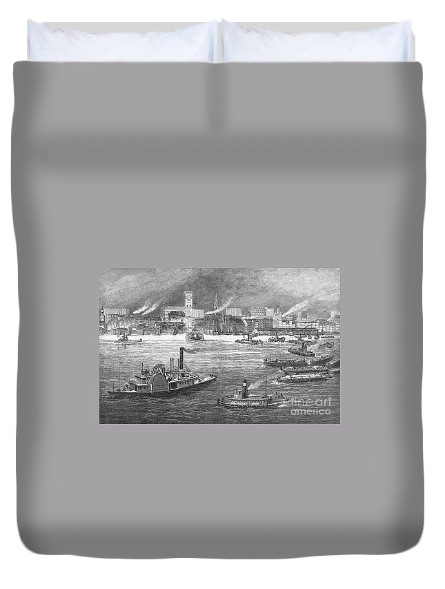 1884 Duvet Cover featuring the photograph Nyc: The Battery, 1884 by Granger