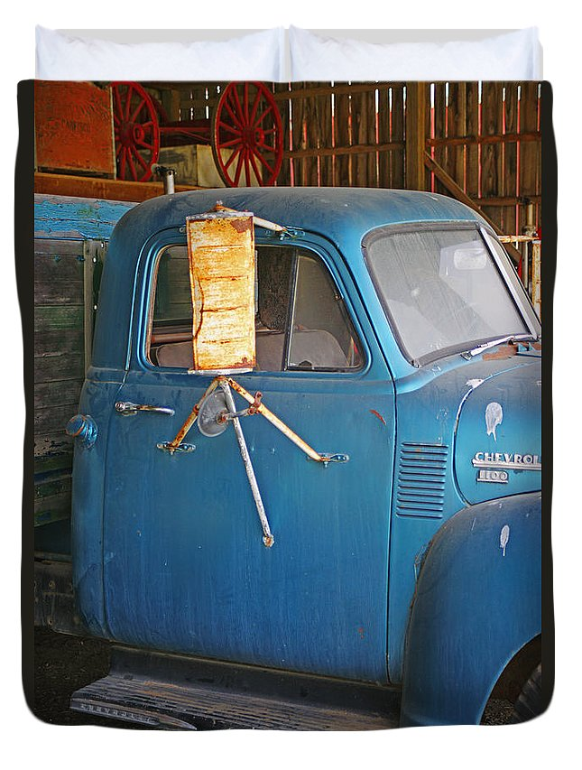 Cars Duvet Cover featuring the photograph Old Blue Farm Truck by Randy Harris