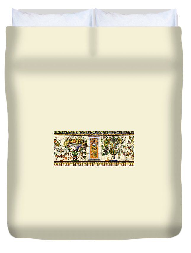 Historic Spanish Tiles Duvet Cover featuring the photograph Old Spanish Tiles by David Lee Thompson