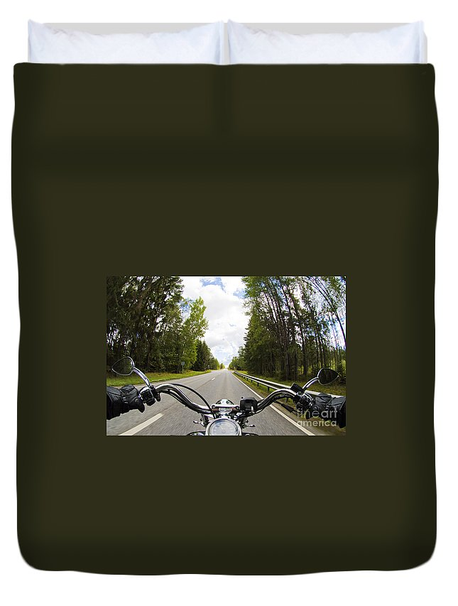 Harley Duvet Cover featuring the photograph On The Road by Micah May