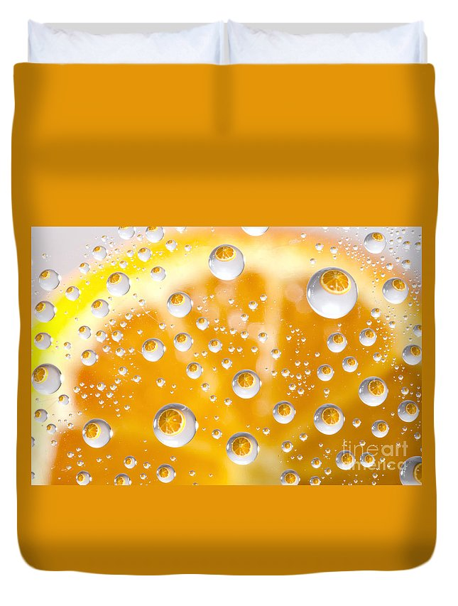Orange Duvet Cover featuring the photograph Orange Water Drops by Mats Silvan