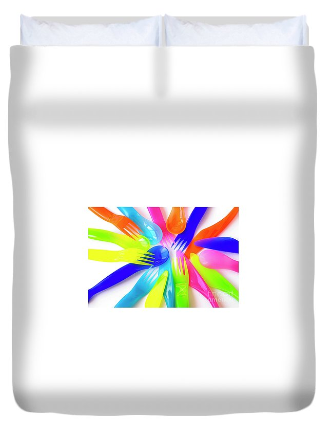 Baby Duvet Cover featuring the photograph Plastic Cutlery by Carlos Caetano