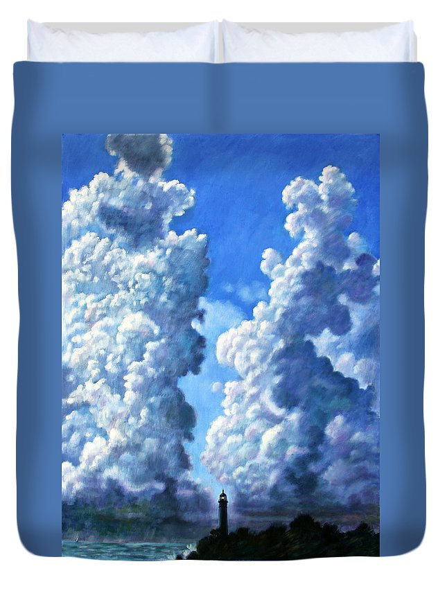 Clouds Duvet Cover featuring the painting Powering Up by John Lautermilch
