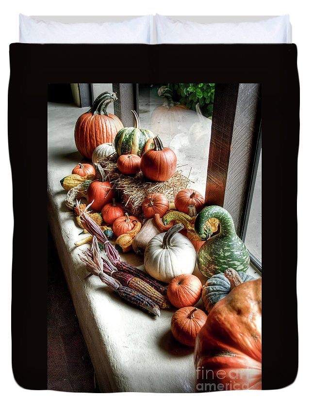 Fall Duvet Cover featuring the photograph Pumpkins by Diego Re