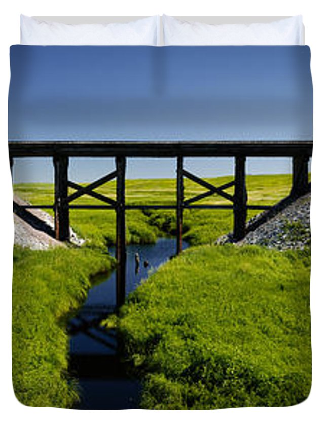 Americas Duvet Cover featuring the photograph Railroad Trestle by Roderick Bley